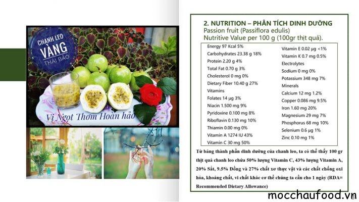 Gía trị Dinh dưỡng của quả chanh leo vàng Thái Bảo